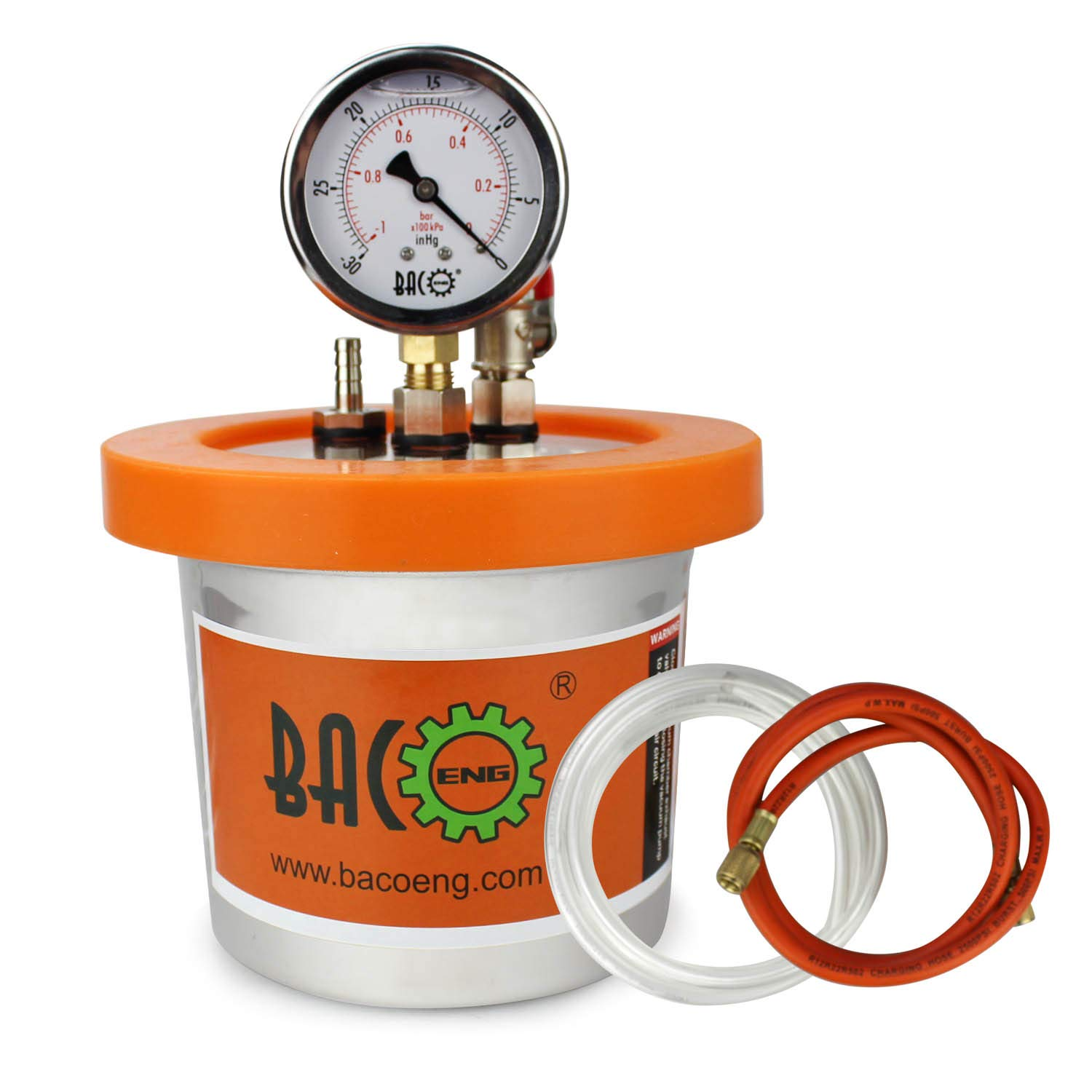 BACOENG 1.2 QT Stainless Steel Resin Trap Vacuum Degassing Chamber (3 Gallon/1.2 QT/2 QT Available) ...