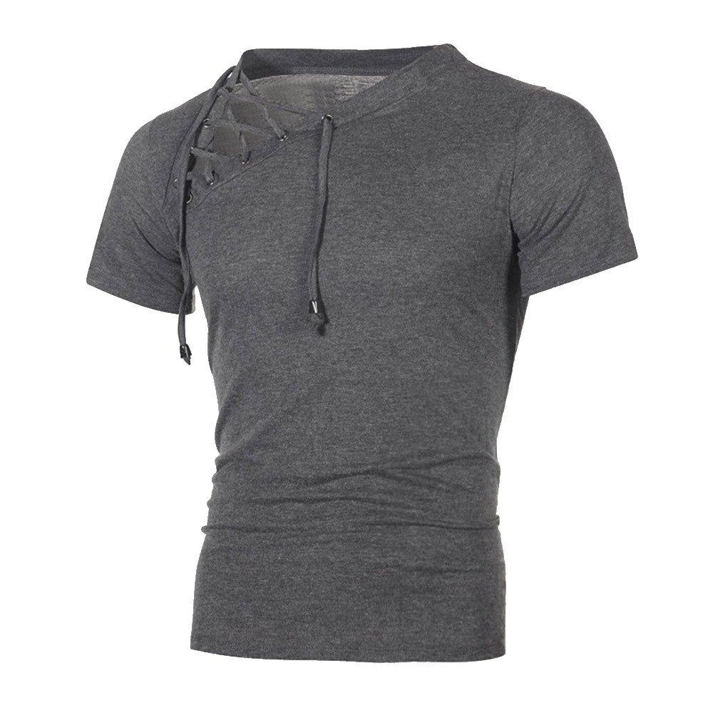 DIOMOR Fashion Wild Personality Bandage Men's Casual Sport Slim Short-Sleeved Shirt Top Blouse Dark Gray