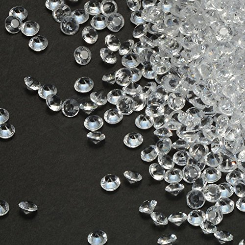 PePeng Pack of 5000 Clear Decorative Wedding Table Scatter Crystals for 6-8 Tables, Make Wedding Days more Magic with the Acrylic Gem Confetti (Clear) (Crystal Violet Glass)