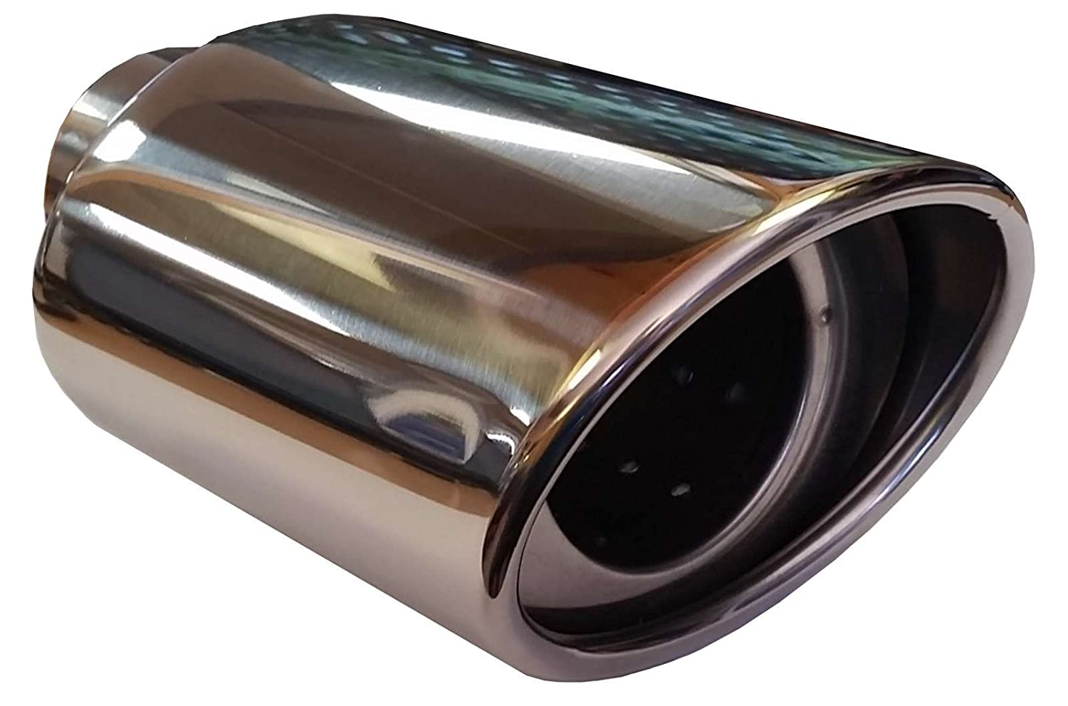 155MM STAINLESS STEEL OVAL CAR EXHAUST TAIL PIPE TRIM CHROME TIP Fits 51-55MM