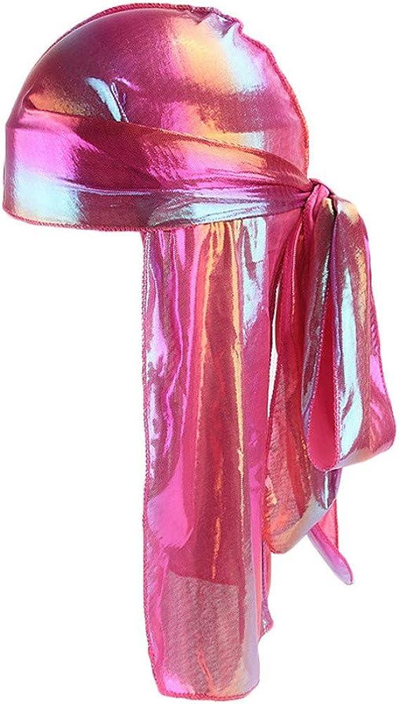 XUANOU Men/Women Silk Polyester Bandana Hat Durag Rag Tail Headwrap Headwear GIF