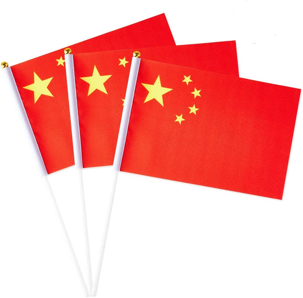 China Flag Chinese Small Stick Mini Hand Held Flags Decorations 1 Dozen (12 pack)