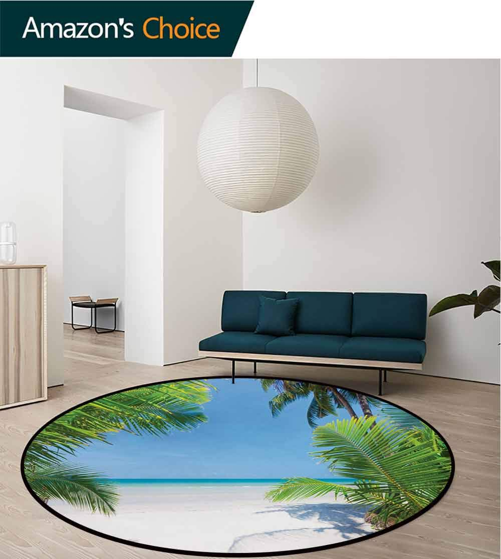 RUGSMAT Ocean Modern Machine Washable Round Bath Mat,Palm Leaves and Tropical Beach Coastline Seashore Vacation Theme Photo Non-Slip Soft Floor Mat Home Decor,Diameter-51 Inch Green Sky Blue White