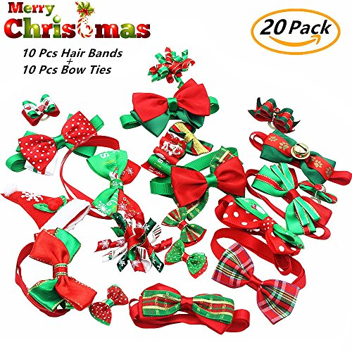 20 Pack Christmas Dog Bow Tie Collar Plus Dog Hair Bow Grooming Accessories, Festival Pet Dog Cat Customs, 10 Pairs