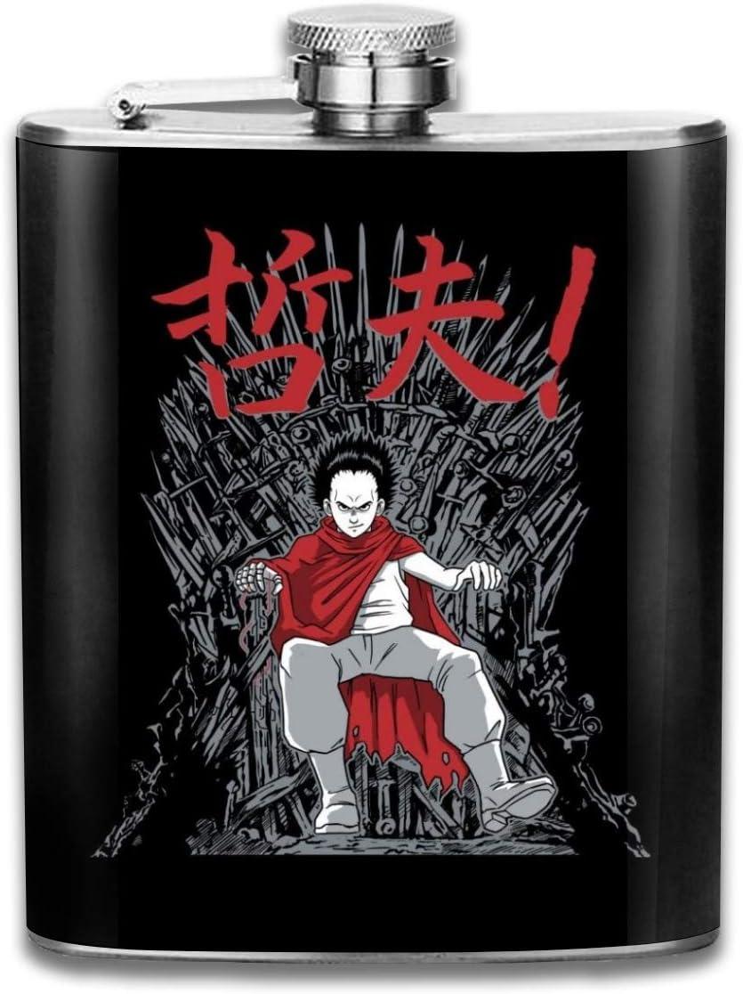 Akira Neo King - Petaca de bolsillo (acero inoxidable, 7oz), diseño de trono de hierro