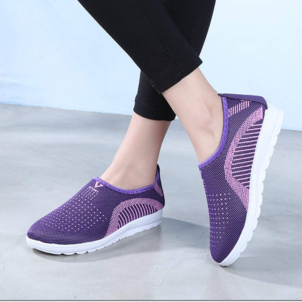 Womens Athletic Shoes Mesh Breathable Flat with Cotton Walking Stripe Sneakers Comfort Sports Tennis Shoes