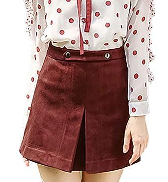 Targogo Mujer Falda Primavera Otoño Unicolor Minifalda Gamuza ...