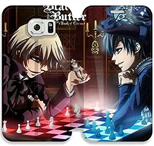 samsung galaxy S6 Flip Leather Phone Case Black Butler SF1DG6284826