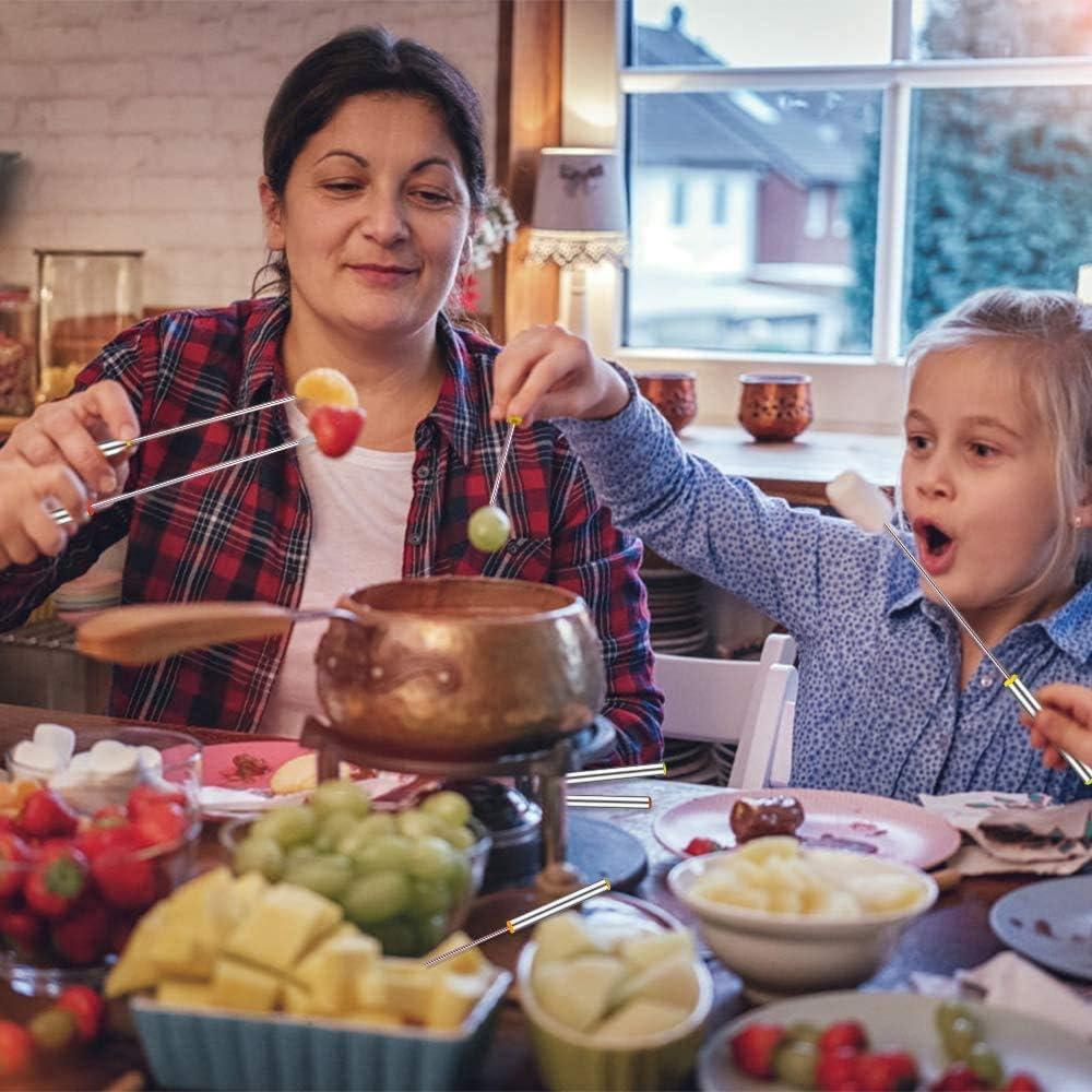 24 pezzi Acciaio Inox Forchetta Fonduta Frutta Forchette da Fonduta Acciaio Inox Manico Resistente Pentole per Cioccolato Fonduta Arrosto Marshmallows Carne Riutilizzabile e facile da pulire
