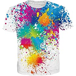 Belovecol Hipster Style Novelty Short Sleeve Graphic T-Shirts Cool 3D Print Colorful Splash Tees Blouse Tops