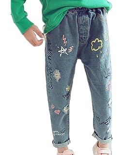 2691bf7ac38 Girls Boys Stretch Denim Jean Elastic Waist Pant Graffiti Pattern Ripped  Trousers Jeans