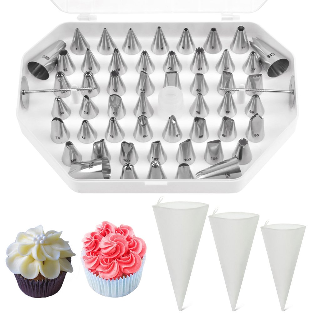 Jennice House Professional Stainless Steel 55 Pieces Cake Decorating Nozzle Tips Set with 3 Pack of Pastry Bags Set--12''+14''+16'' (55Pcs Cake Decorating Kit+3 Pastry Bags Set)