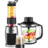 Mixer Smoothie Maker 3 in1 Multifunktion Standmixer + Fleisch Zerkleinerer/Ice Crusher + Kaffeemühle (700 Watt, 24000U/Min) Elektrisch Shake Smoothie Mixer mit 570ml Sport-Flasche BPA frei