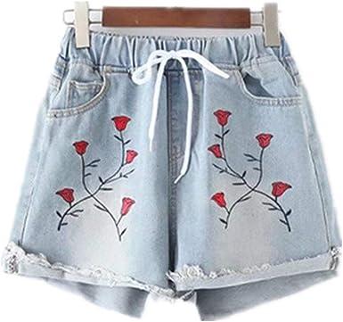 Pantalones Cortos De Mujer Flojo Mujer Jeans Vintage Retro Jeans Ropa Festiva Chica Elegante Pantalones Cortos De Mezclilla Pantalones De Moda De Verano Pantalones Vaqueros Con Bordado Floral Amazon Es Ropa Y Accesorios