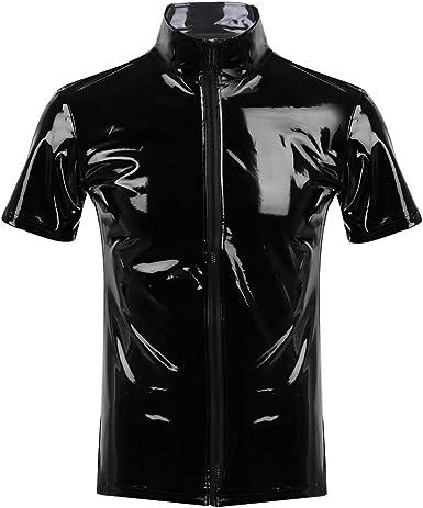 iiniim Camiseta Hombre Mujer Manga Corta Atractivo Brillo Tops Unisex Negro Brillante Hipster Polo de PVC Cuero Latex con Cremallera Wetlook Catsuit Traje de Club Noche Etapa: Amazon.es: Ropa y accesorios