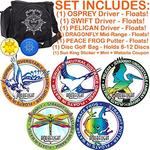 AquaFlight Premium Disc Golf Starter Set (5 Discs + Bag - Floats in - Sun Coupon In