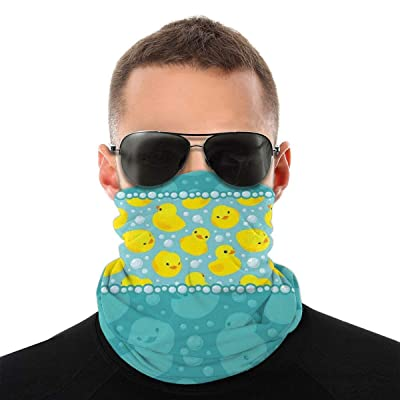 Yellow Cartoon Duckies Swimming In Water Pattern With Fun Bubbles Aqua Colors Variety Head Scarf Classic For Dust Outdoors Fishing Sports Running Women Men: Beauty