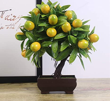 Amazon Com Artificial Plants Bonsai Orange Peach Fruit Tree Pot Desk Display Simulation Fake Tree Ornaments Mini Bonsai Tree Pot Vivid Potted Artificial House Plants Home Garden Decoration Wedding Party Decor Home