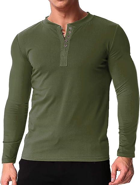 Men/'s Casual Slim Fit V-neck Henley Shirt Long Sleeve Button Tops Tee Shirts USA