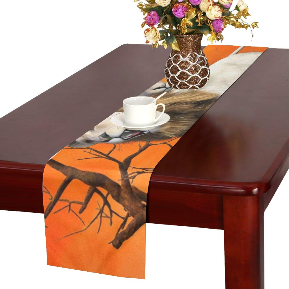Jnseff Lion Lioness Animal World Predator Africa Animal Table Runner, Kitchen Dining Table Runner 16 X 72 Inch For Dinner Parties, Events, Decor