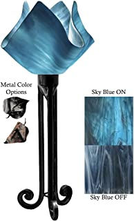 product image for Jezebel Radiance Torch Light. Hardware: Black. Glass: Sky Blue, Flame Style