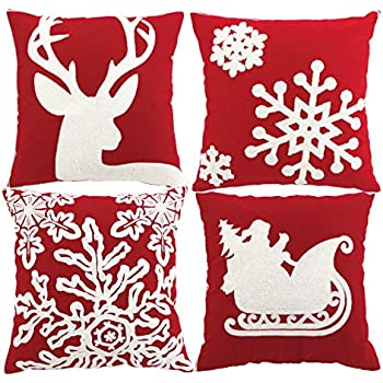 sykting embroidery throw pillow case 18x18 christmas pillow cover set of 4 pillow cases home car - Christmas Decorative Pillow Covers