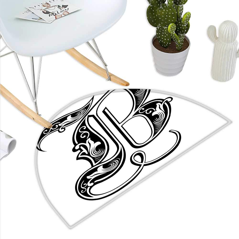 color11 H 15.7  xD 23.6  Letter B Semicircle Doormat Black and White Abstract Swirls Classic Design Alphabet Uppercase B Symbol Print Halfmoon doormats H 27.5  xD 41.3  Black White
