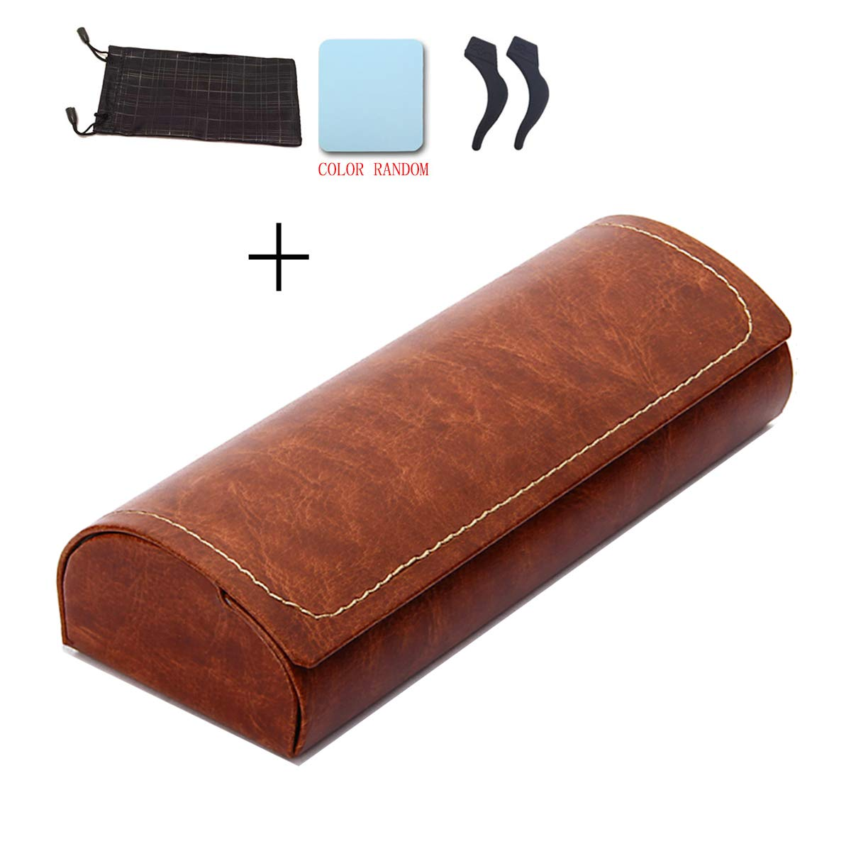 PU Leather Eyeglass Case Hard Eyewear Protective Holder Case with Sunglasses Pouch (Brown)