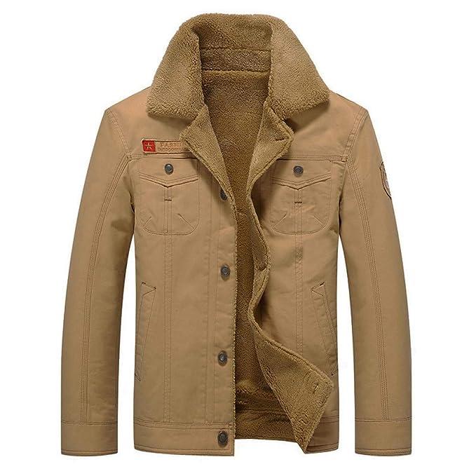 Amazon.com: Mens Autumn Winter Long Sleeve Fur Pocket Button Thermal Jacket Coat Fleece Outwear Outercoats: Clothing