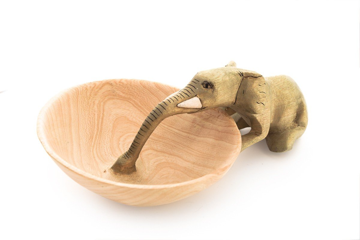 Fair Trade Handcarved Animal Motif Small Bowls (Elephant Drinking)