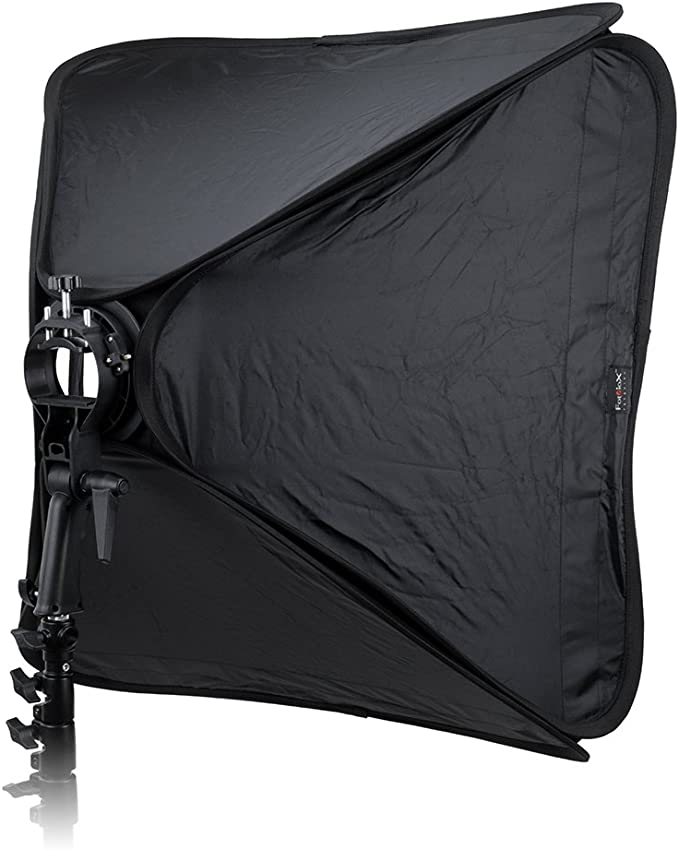 Collapsible Softbox and Speedlight Bracket with PocketWonder Elite TTL Pass-Thru Kit for Canon Fotodiox Foldable 32x32in Softbox 1x Flash Kit with Remote Trigger for Canon