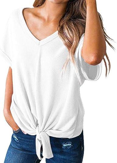 Camisetas Mujer Manga Corta SHOBDW Tops Casual Verano Camisa Sexy con Cuello En V Vendaje Camiseta Suelta Blusa Sólida Diaria Tallas Grandes Heavy S-XXL: Amazon.es: Ropa y accesorios