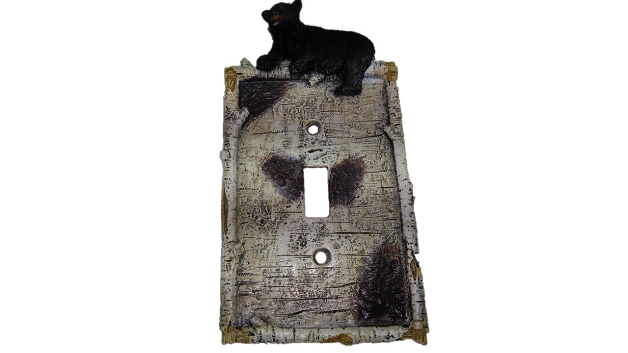 Bear Switch Plate - Wall Plates - An Adorable Black Bear Cub Climbs on Birch Limbs - Wall Plate Covers TopNotch Outlet