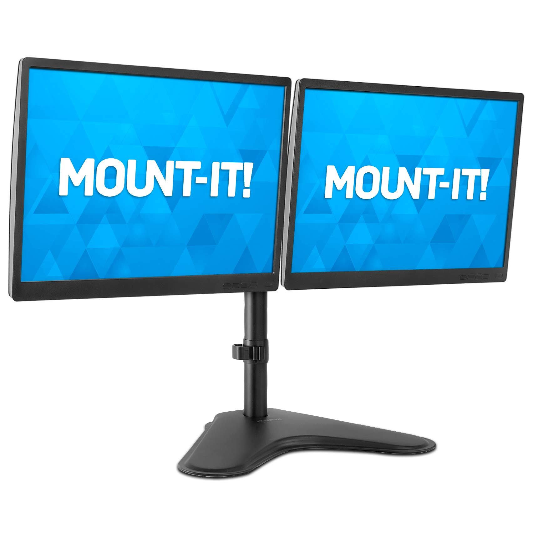 Mount-It! Dual Monitor Stand   Double Monitor Desk Stand Fits Two x 21 22 23 24 27 28 30 32 Inch Computer Screens   Freestanding Base   2 Heavy Duty Full Motion Adjustable Arms   VESA Compatible