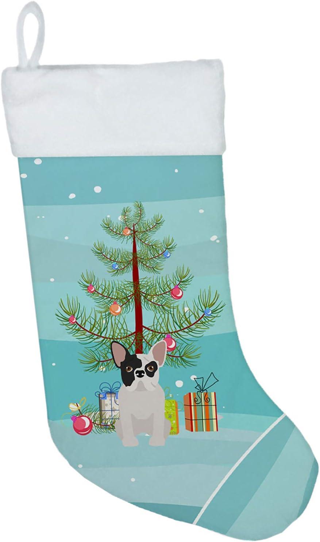Caroline's Treasures Black and White French Bulldog Tree Christmas-Stockings, Multicolor