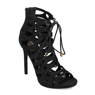 Miss L Women Faux Suede Peep Toe Caged Cut Out Lace Up Stiletto Heel EI59 | Sandals
