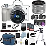 Canon EOS M50 Mirrorless Digital Camera (White) With 15–45mm f/3.5–6.3 IS STM Lens + Deluxe Accessory Bundle - M50 Camera Includes EVERYTHING You Need To Get Started