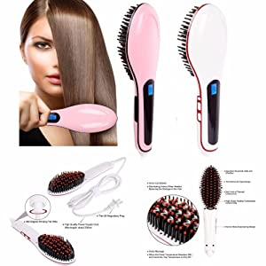 Pink Electric Pro Automatic LCD Temperature Control Paddle Brush Hair Straightener