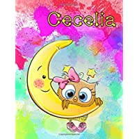 "Cecelia: Personalized Book with Name, Journal, Notebook, Diary, 105 Lined Pages, 8 1/2"" x 11"""