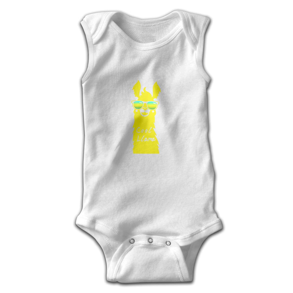 Dunpaiaa Cool Llama with Sunglass Newborn Crawling Suit Sleeveless Romper Bodysuit Onesies Jumpsuit Black