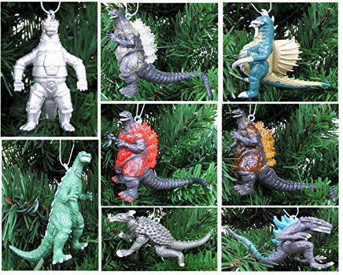 GODZILLA 8 Piece Christmas Tree Ornament Set Featuring Godzilla, Mechagodzilla, Showa Gigan, Anguirus and More