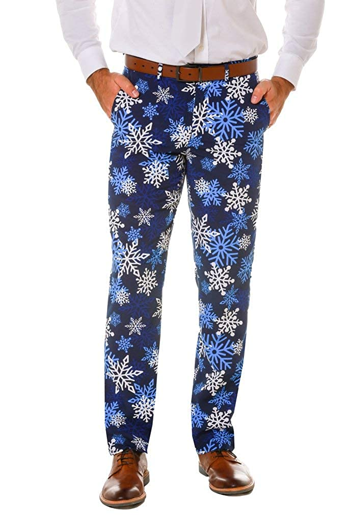 Shinesty Snowflake Print Christmas Pants for Men - Includes Navy Snowflake Suit Pants
