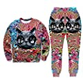 Ancia Womens Emoji 100 Scores Printed Pullovers Sweatshirts/Joggers Sweatpants Set