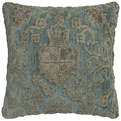 Image of Loloi Loloi-DSETGPI15GYBBPIL1-Grey/Blue Decorative 100% Viscose Accent Pillow with Down Fill, 18' x 18' Home and Kitchen