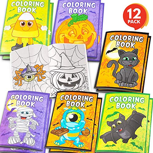 ArtCreativity Halloween Coloring Books for Kids - Pack of 12-5 Inches x 7 Inches Mini Booklet - Fun Halloween Treats Prizes - Favor Bag Filler - Birthday Party Supplies -