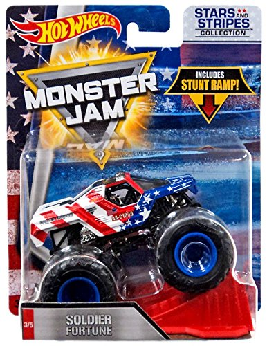 HOT WHEELS STARS AND STRIPES EXCLUSIVE SOLDIER FORTUNE 1:64 MONSTER JAM, USA FLAG PAINT JOB (Soldier Star)