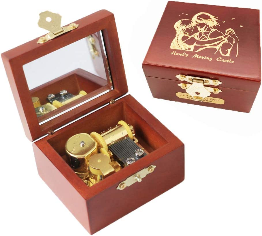 Geschenk f/ür Weihnachten Valentinstag Tune: Merry Go Round of Life Gold Youtang Spieluhr aus geschnitztem Holz mit Aufziehmechanismus Geburtstag