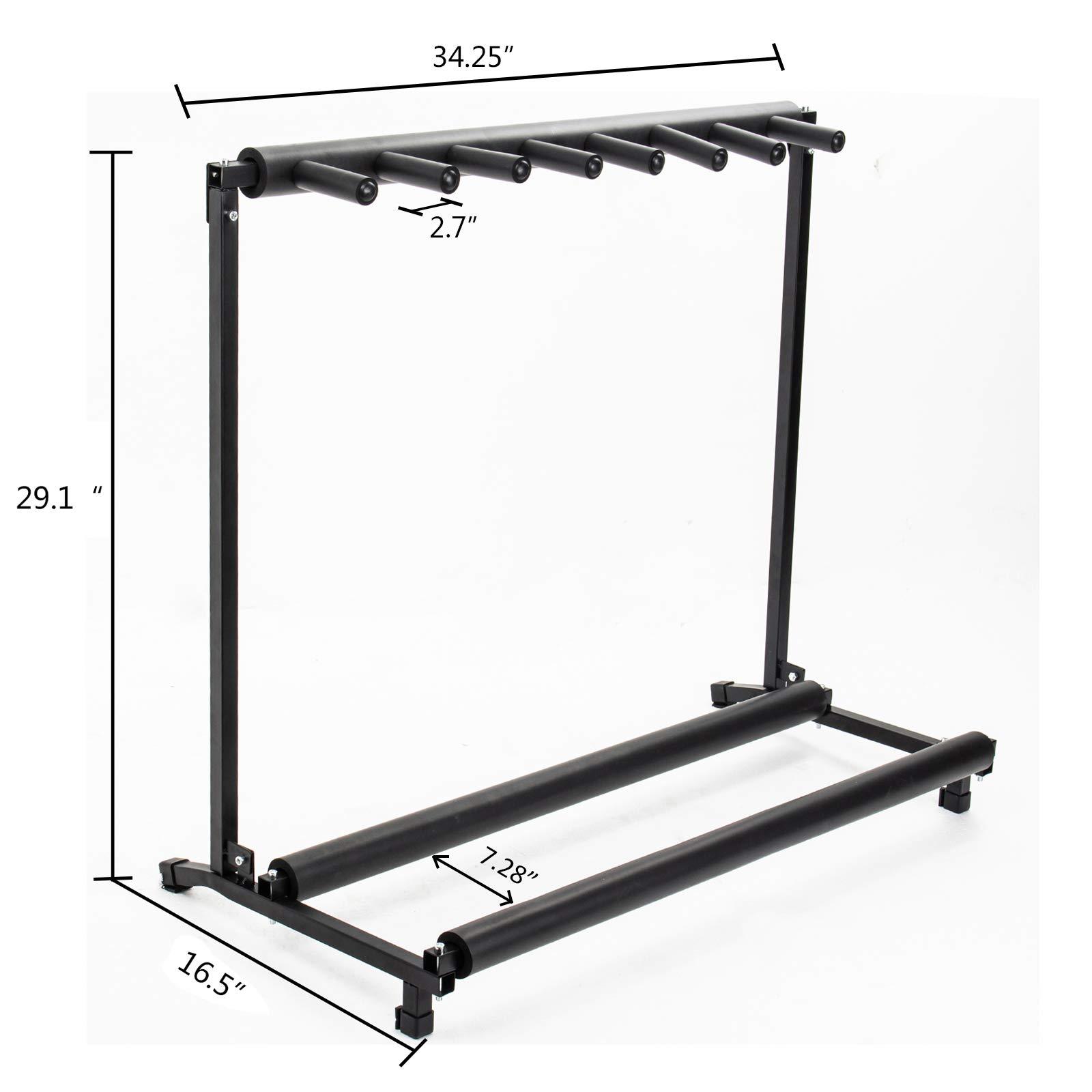 AJO Multi Guitar Stand,7 Holder Guitar Folding Portable Storage Organization Stand Display Rack,Black by AJO (Image #3)