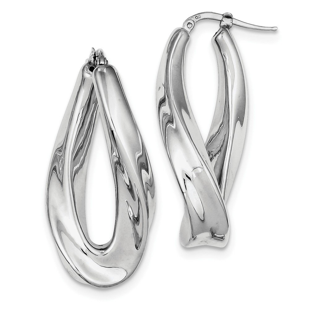 Sterling Silver Polished Rhodium Plated Twisted Hollow Hoop Earrings (16mm x 40mm)