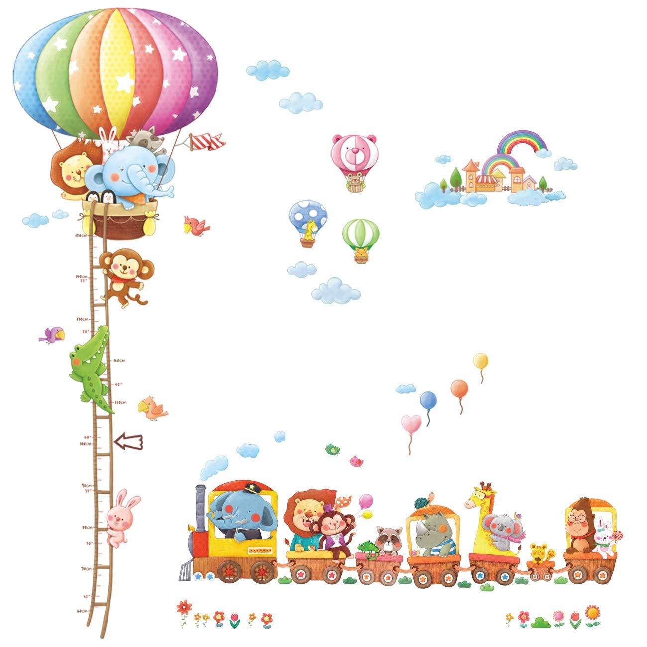 Decowall DA-1606N1406A Treno con Animali e Tabella di Altezza con Mongolfiera Adesivi da Parete Decorazioni Parete Stickers Murali Soggiorno Asilo Nido Camera da Letto per Bambini